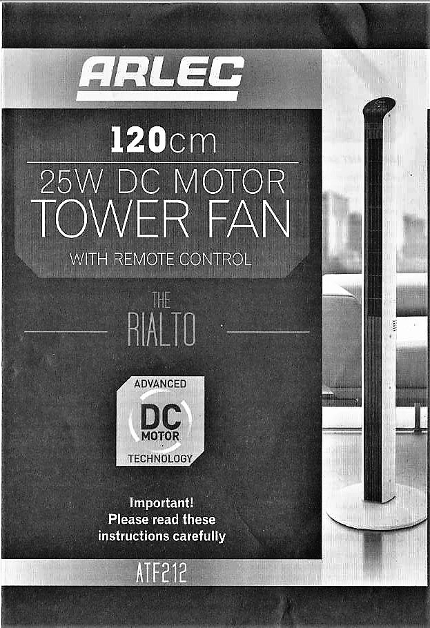 Arlec Rialto Tower Fan Manual And Review Find Thingy